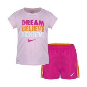 Nike 2Pc Shirt & Shorts Set Dream Believe Achieve
